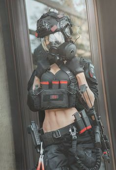 Airsoft Gear, Tactical Gear, Cosplay Outfits, Cosplay Girls, Military Archives, Gas Mask Girl, Cool Anime Girl, Anime Weapons, Military Women