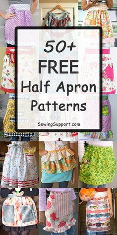 Over 50 Free diy Half Apron patterns & tutorials. Simple and easy styles, vintage and retro designs, ideas for ruffle aprons and more. Source by sewingsupport clothes fashion sewing projects Half Apron Patterns, Vintage Apron Pattern, Apron Pattern Free, Aprons Vintage, Sewing Patterns Free, Dress Patterns, Bib Pattern, Vintage Sewing, Diy Sewing Projects
