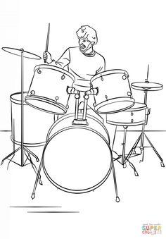 drum set player super coloring