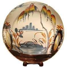 Antique English Pottery Delftware Dish With Swans on Lake C1750 | From a unique collection of antique and modern pottery at http://www.1stdibs.com/furniture/dining-entertaining/pottery/