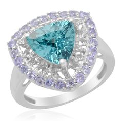 Liquidation Channel | Paraiba Apatite and Tanzanite Ring in Platinum Overlay Sterling Silver (Nickel Free)