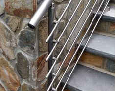 Modern Square Stairs Balcony Glass Hand Rail Staircase Railing Kit - Glass NOT included Aluminum Handrail, Metal Railings, Staircase Railings, Metal Roof, Aluminium, Exterior Handrail, Staircase Makeover, Outdoor Stair Railing, Cable Railing