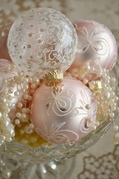 "Gorgeous array of Christmas ornaments and pearls ""served"" in a compote ... #shabby chic #Christmas"
