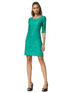 Norah - emerald - Kanten A-lijn jurk | LaDress
