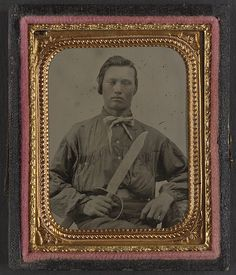 [Unidentified soldier in Confederate uniform with D guard Bowie knife] (LOC) | Flickr - Photo Sharing!
