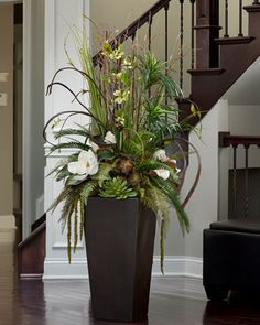 Magnolia Masterpiece Silk Arrangement Planter at Petals Tall Flower Arrangements, Silk Flower Centerpieces, Artificial Floral Arrangements, Silk Floral Arrangements, Artificial Flowers, Flower Decorations, Floor Vase Decor, Vases Decor, Grands Pots
