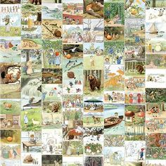 A customised children's wallpaper featuring many beloved characters from Swedish children's stories and songs – including a curious fish, children of the forest, a fairy, Aunt Gre Children Of The Forest, Elsa Beskow, Logs, Scandinavian, Vintage World Maps, Photo Wall, Collage, Make It Yourself, Wallpaper