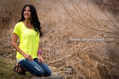 www.SexyModest.com #top #neon #color #bright #jeans #spring #springfashion #clothes #fashion #shopping #boutique #modest Follow us on Instagram @modestshoppin
