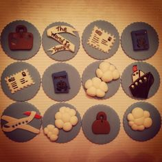Travel themed cupcake toppers