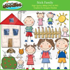 Stick Family  Clip Art by ScrappinDoodles on Etsy, $3.99