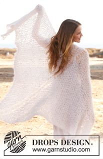 "Knitted DROPS shawl in garter st in ""Vienna"". ~ DROPS Design"