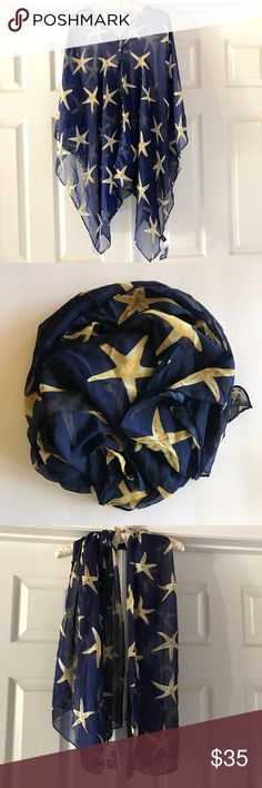 Fun Sheer Kimono Wrap Caftan Scarf -Starfish NWT Pretty navy blue with gold starsfish! Can be worn many ways! Suggestions on the tag – or find your own style! Hi low style. New with tags – never worn. Fun and pretty summertime pattern! Wear to work or a