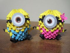 3d Origami Boy and Girl Minion