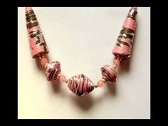 Make a Summer Glass Bead and Paper Necklace - YouTube