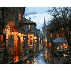 DIY Old Town Scenery Paint By Number Kit Canvas Painting Bedroom... ($7.85) ❤ liked on Polyvore featuring home, home decor, wall art, white, scenery picture, white wall art, white canvas painting, ink painting and water ink painting