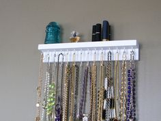 Necklace Hanger with shelf by BlackForestCottage on Etsy