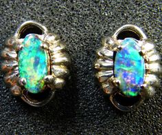 boulder opal 18k white gold earrings 1 cts $316  http://www.jewelry-auctioned.com/auctions/boulder-opal-18k-white-gold-earrings-1-cts-sca-2140-17099
