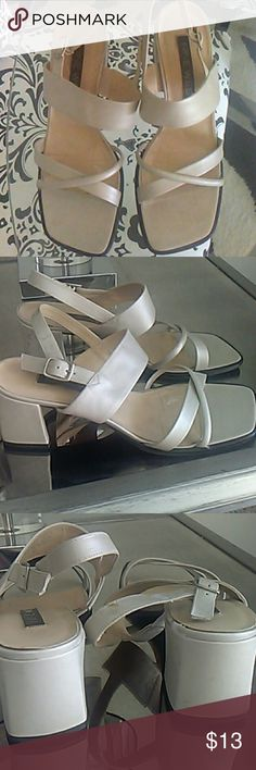 """Nude sandals 2.5"""" heel, great neutral goes with everything. Some wear not noticeable when on. Nine West Shoes"""