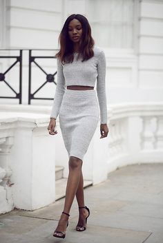 Natasha  N - Crop Top, Pencil Skirt, Missguided Heels - Grey Matters