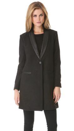 Black Coat with Leather Trim