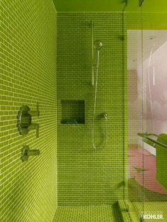 Colorful Modern Bathrooms   Lime Green Glass Tile Shower With Hydro Rail  Shower Column   Kohler Via Atticmag Good Ideas