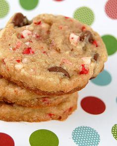 Peppermint Crunch-Milk Chocolate Chip Cookies . I will make these for Christmas! Maybe substitute with white choc chips!??