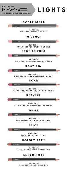 Matching MAC lip liners to lipsticks. Part 1 - Lights- Matching MAC lip liners to lipsticks. Part 1 – Lights Matching MAC lip liners to lipsticks. Part 1 – Lights - Kiss Makeup, Love Makeup, Makeup Inspo, Makeup Inspiration, Makeup Ideas, Mac Makeup Looks, Amazing Makeup, Prom Makeup, Lipstick Colors
