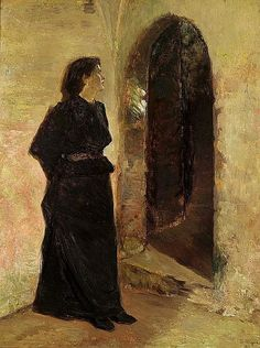 Young woman at a domed door. Signed and dated B. Wegmann 1898. Oil on canvas. 85 x 64  cm.