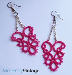 Silver Chain and Pink Tatting Chandelier by ModernlyVintageCraft, $24.00