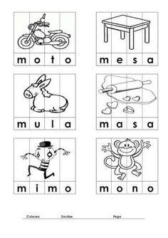 Con Silabas Ma Me Mi Mo Mu Preschool Writing, Kindergarten Reading, Preschool Classroom, Pre K Activities, Language Activities, Writing Activities, Spanish Lessons, Learning Spanish, Kids Learning