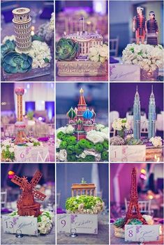 Thrift store travel themed wedding centerpieces abby logans center pieces for a travel themed wedding or event junglespirit Image collections