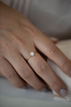 Solitaire Engagement Ring - Minimalist Diamond Ring on Hand