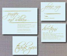 Pretty wedding invitation with swirly names.