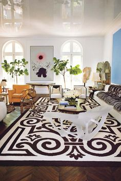 modern, eclectic living space.  fiddle leaf figs, color, and pattern | delphine krakoff