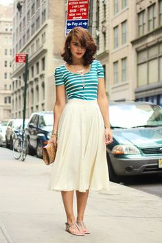 Flowy Midi Skirt. Striped Shirt. Sandals. Clutch.