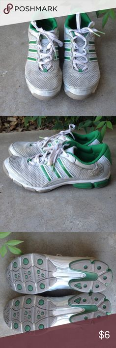 BUY NOW Donating soon Adidas green running shoes BUY NOW, WILL BE DONATING IN A COUPLE OF DAYS. BUNDLE WITH OTHER ITEMS IN MY CLOSET FOR AN AMAZING DEAL !Green Adidas running shoes. Imagine running at sunset, the cool air rushing across your skin as you r