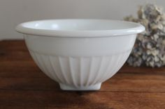 White Milk Glass Bowl with Vertical Rib by SouthernVintageGa, $20.00