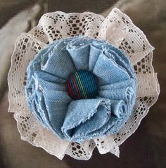 Lace and Denim corsage brooch pin womens gift by Upcycledangel, £9.00