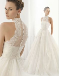 Cheap 2015 Hot Sell Top Halter Lace Fashion A-Line Chapel Train A-Line Wedding Dress China Easebuy! Free Measurement