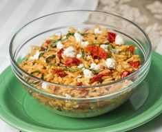 Sun Dried Tomato and Orzo Salad- This salad is a versatile meal for any season. For a refreshing summer dish, serve it cold. For a hearty winter dish, serve it hot!