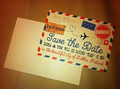 "Par avion inspired ""Save the Date"""