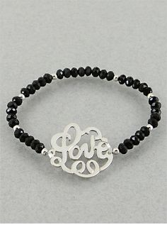 Black & Silver Love Monogram Bracelet from P.S. I Love You More Boutique
