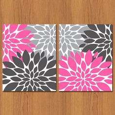 Floral Flower Burst Pink Grey Set of 2 by PaisleyPeacockPrints