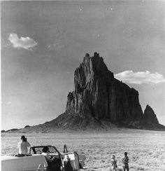 Tourists visiting Shiprock in Northwestern New Mexico, 1953. Palace of the Governors Photo Archives HP.2007.20.710.