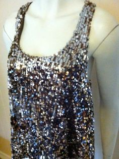 Forever 21 Brown Sequin Tank Top Size L