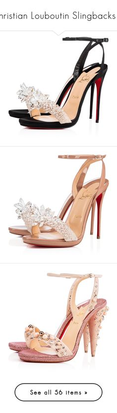 """Christian Louboutin Slingbacks III"" by sakuragirl ❤ liked on Polyvore featuring shoes, sandals, christian louboutin, louboutin, christian louboutin shoes, platform sandals, satin sandals, black platform sandals, crystal shoes and heels"