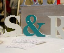 Wedding table decor, freestanding wooden letters