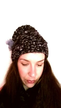 Girly handknitted hat /black grey/ one size by KaterinakiJewelry Pompom Scarf, Hats For Women, Black And Grey, Girly, Purple, Color, Fashion, Colour, Moda