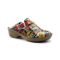 d6b58fe231ef Lila SureGrip Womens Bailey Red Floral Open Back Clog Slip Resistant Work  Shoes