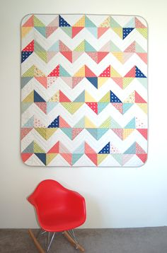 Free sunny chevron quilt pattern. Our pattern is written for a small Throw size as shown in our picture...Pipers girls. Oh my gosh, must make asap!